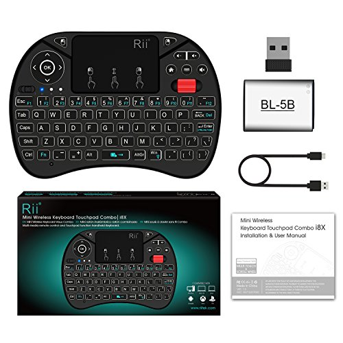 2018 Rii i8X 2.4GHz Mini Wireless Keyboard with Touchpad Mouse Combo, LED Backlit,Rechargeable Li-ion Battery-Black by Rii (Image #5)