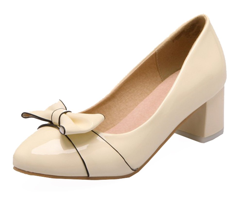 SHOWHOW Women's Elegant Bow Block Mid Heels Slip On Synthetic Patent Leather Pump Beige 5.5 B(M) US