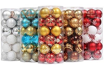 "Sea Team 60mm/2.36"" Delicate Contrast Color Theme Painting & Glittering Christmas Tree Pendants Decorative Hanging Christmas Baubles Balls Ornaments Set - 24 Pieces"