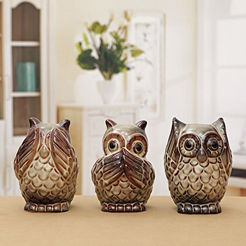 Hear No Evil Speak No Evil See No Evil Costumes (Ceramics See No Evil, Hear No Evil, Speak No Evil Wise Owls Collectible Figurines,Set of 3)