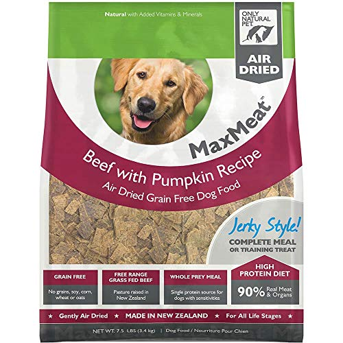 - Only Natural Pet MaxMeat Holistic Grain-Free Air Dried Dry Dog Food - Made with Real Meat - Beef with Pumpkin & Parsley 7.5 lb