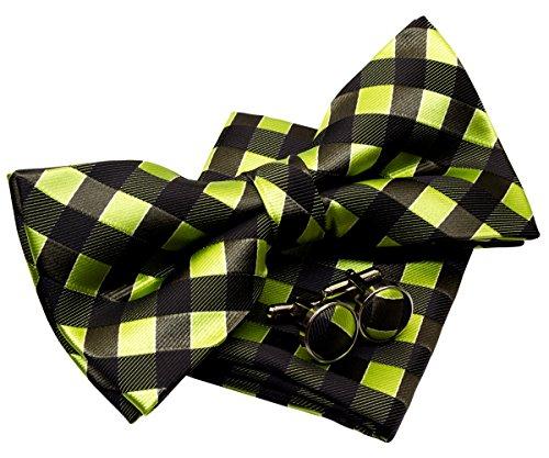Retreez Classic Check Woven Microfiber Pre-tied Bow Tie (Width: 5