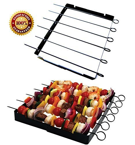 Gas Coal Basket - Barbecue Skewer Shish Kabob Set, BBQ Kebab Rack Maker for Meat & Vegetables, Steel Kabab Sticks for Gas or Charcoal Grilling, Begin Cooking Like a Chef, Barbecue With No Mess, Free E-book Included!