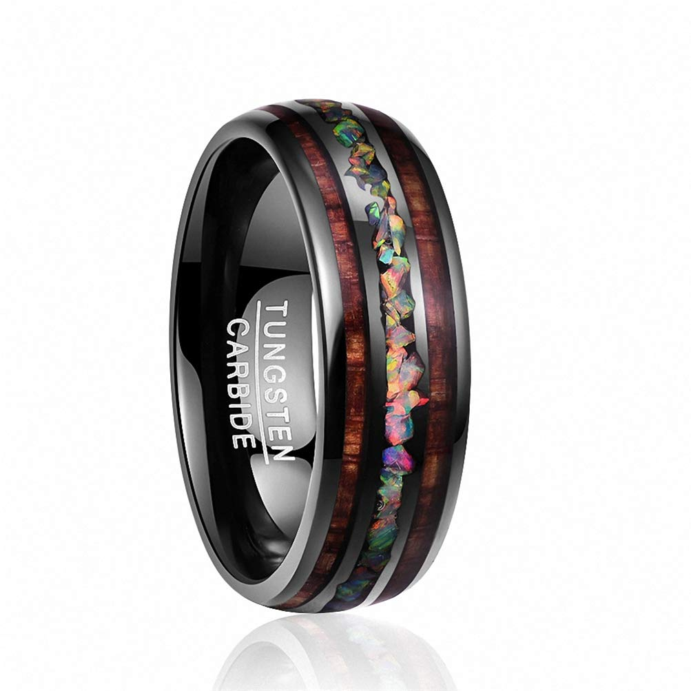 8mm Dome Black Acacia Wood Opal Tungsten Carbide Men Engagement Band Wedding Ring