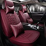 Skysep Red Wine Full Set Universal Fit 5 Seats Car Surrounded Solid Color Waterproof Leather Car Seat Covers Protector Adjustable Removable Auto Seat Cushions with 2 Waist Pillows 2 Headrest Pillows