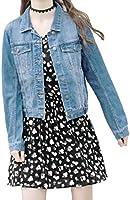 SHAREWIN Jean Jacket Women Distressed Long Sleeve Denim Jacket Button Casual Cropped Coat
