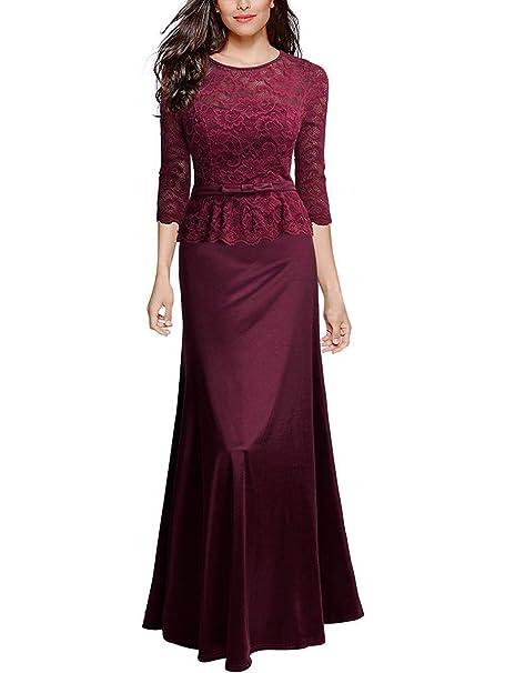 check out 7ceee 24dc9 Tribear Damen Elegant Lang Geblümt Spitzen Brautjungfer Chiffon Abendkleid  Maxikleid Cocktailkleid