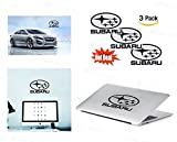 SUBARU Logo Stickers Decal - Set of 3 Decals - High Resolution, Superior Finish and Transparent Background - Ideal for Car, Motorcycle, Laptop, Macbook, iMac, Windows and Wall Art