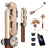 ZUSLAB Selfie Stick with Tripod Mount + 3-in-1 Fisheye Wide Macro Lens + Detachable Bluetooth Remote Shutter for iPhone Android Phone (Gold)