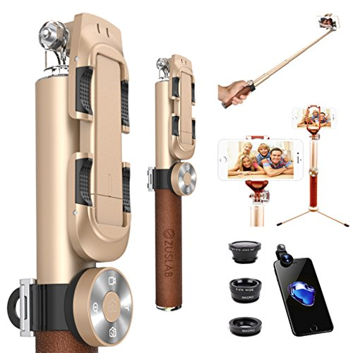 ZUSLAB Selfie Stick with Tripod Mount + 3-in-1 Fisheye Wide Macro Lens + Detachable Bluetooth Remote Shutter for iPhone Android Phone (Gold) by ZUSLAB