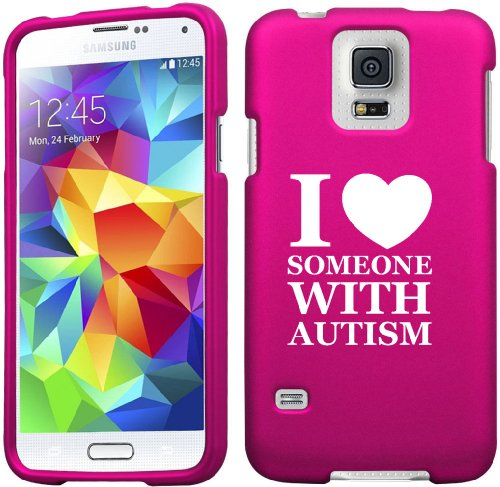 Samsung Galaxy S5 Active G870 Snap On 2 Piece Rubber Hard Case Cover I Love Heart Someone with Autism (Hot Pink)