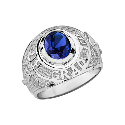 Sterling Silver September CZ Birthstone High School Class of 2018 Graduation Ring (Size 10.5)