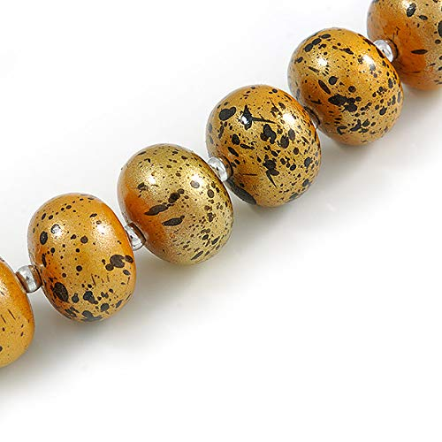 Glitter Gold//Black Avalaya Long Graduated Wooden Bead Colour Fusion Necklace 76cm Long