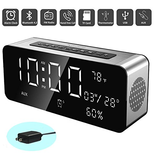 Orionstar Wireless Bluetooth Alarm Clock Radio Speaker with HD Sound&Big Digital Screen Compatible with iPhone/Android/PC4/Aux/MicroSD/TF/USB for Bedroom Office Model A10 with Wall Charger (Alarm Clock Ipod Shuffle)