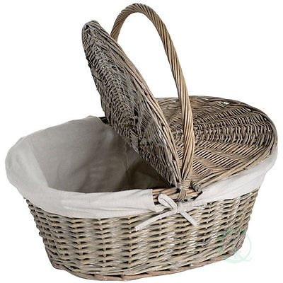 10.5' Grill (Quickway Imports Oval Willow Picnic Basket with Lid)