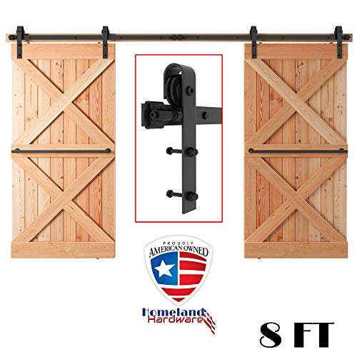 8FT Heavy Duty Double Door Sliding Barn Door Hardware Kit - Smooth, Quiet Tested Over 100,000 Times - Super Easy to Install - Step-by-Step Installation Manual Included Fit 24-30