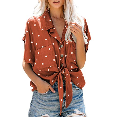 - TANLANG Womens Tie Front Knot Tank Tops Button Down V-Neck Blouse 3/15 Short Sleeve Shirts Comfortable and Breathable Tee Orange