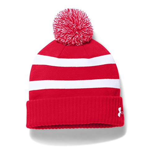 (Under Armour Men's Pom Beanie, Red (600)/White, One Size)