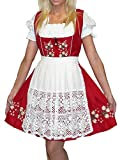 Dirndl Trachten Haus 3-Piece Short German Wear Party Oktoberfest Waitress Dress 12 42 Red