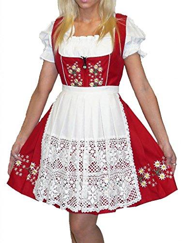 Dirndl Trachten Haus 3-Piece Short German Wear Party Oktoberfest Waitress Dress 10 40 Red by Dirndl Trachten Haus