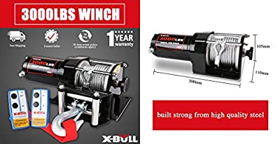 X-BULL 12V 3000LBS/1360kg Electric ATV Winch 2 Remote Wireles control Steel Cable Boat ATV Kit (steel wire rope type)