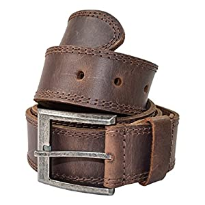 Hide & Drink Men's Two Row Stitch Leather Belt Handmade :: Bourbon Brown