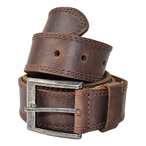 Men's Two Row Stitch Leather Belt Handmade by Hide & Drink Includes 101 Year Warranty :: Bourbon Brown (Size 50)