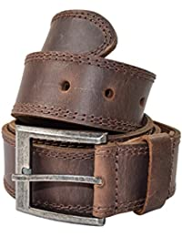 Men's Two Row Stitch Leather Belt Handmade by Hide & Drink :: Bourbon Brown
