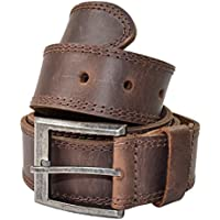 Men's Two Row Stitch Leather Belt Handmade by Hide & Drink Includes 101 Year Warranty :: Bourbon Brown