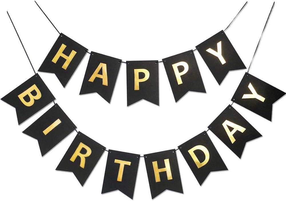 Black Golden Sparkle Happy Birthday Banner Signs Birthday Party Supplies for Birthday Party Decorations Baby Nursery Hanging Decor 13 Pieces
