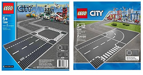 LEGO City 7280 and 7281 - Road Base Plates (4 Plates in total) (Road Plates)