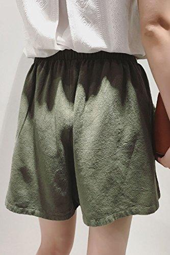 Ampia Sexy Donne Armygreen Gamba Vepodrau Elastica Cordoncino Shorts Lino Pants APxtFq