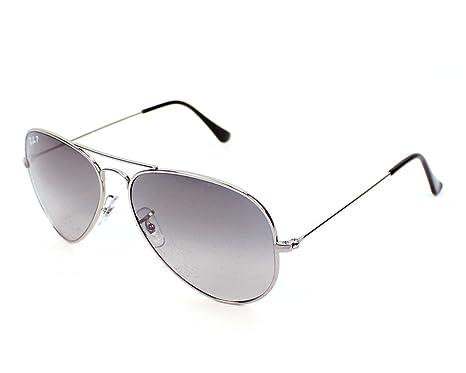d783da71fd Ray Ban Sunglasses RB 8041 Aviator TM Titanium RB8041 086 M3 Titanium  Silver Gradient Grey polarized  Amazon.co.uk  Clothing