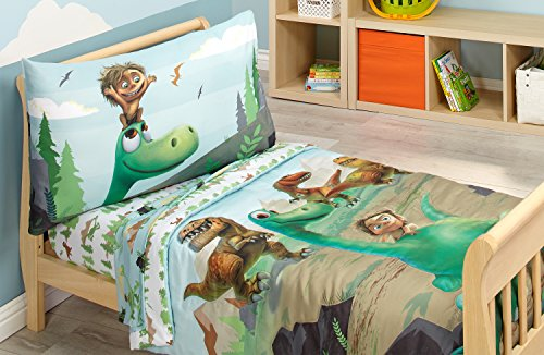 Disney Prehistoric Footprints 4 Piece Toddler Bed Set, The Good Dinosaur ()