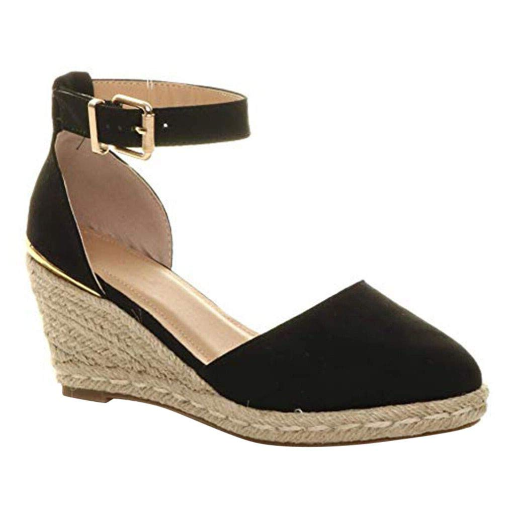 Women High Wedges Sandals,❤️ FAPIZI Ladies Summer Espadrille Heel Platform Wedge Sandals Ankle Buckle Closed Toe Shoes Black