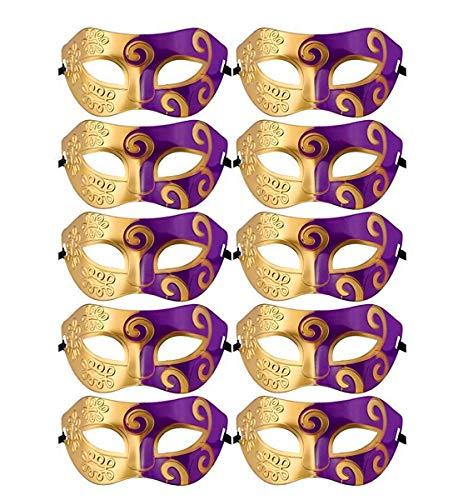 Unisex Retro Masquerade Mask Mardi Gras Costume Party Acccessory (Gold + Purple)