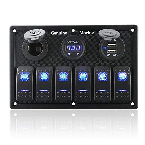 Reverse Gang (6 Gang Waterproof Rocker Switch Panel Blue LED Digital Display Voltmeter Dual 5V USB Charger Socket DC 12V Slot, 5 Pin Lighting Toggle Switches with 15A Fuse for RV Truck Car Marine Boat Vehicle)