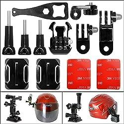 Fantaseal 12-in-1 Action Camera Helmet Side Mount Kit Adhesive Mount for GoPro Helmet Mount for SONY GoPro Hero 5 / 4/3+/3/ Session / SJCAM SJ4000 SJ5000 / Garmin Virb XE DBPOWER etc