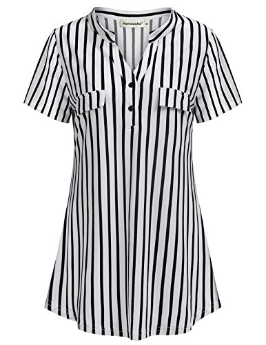- Nandashe Work Shirts for Women Office, Misses Tunic Tops Sexy Short Sleeve Banded Collar Swallowtail Hem Relaxed Easy Fitted Hipster Long T Shirt Chequered Pattern Blouse Daily Wear Black and White M