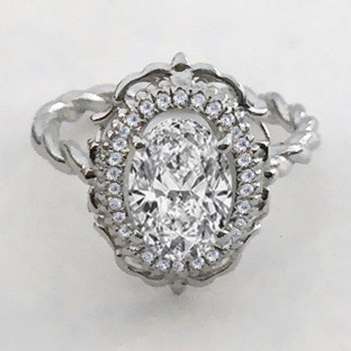 Oval Cut Moissanite Engagement Ring 14k White Gold Palladium Platinum Halo Handmade Diamond Ring Anniversary Ring Forever One