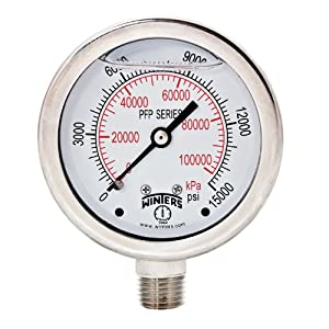 "Winters PFP Series Premium Stainless Steel 304 Dual Scale Liquid Filled Pressure Gauge, 0-15000 psi/kpa, 2-1/2"" Dial Display, +/-1.5% Accuracy, 1/4"" NPT Bottom Mount"