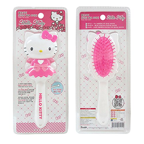 Kitty Sanrio Hello Pretty Hair Brush Comb in Pink Dress with -