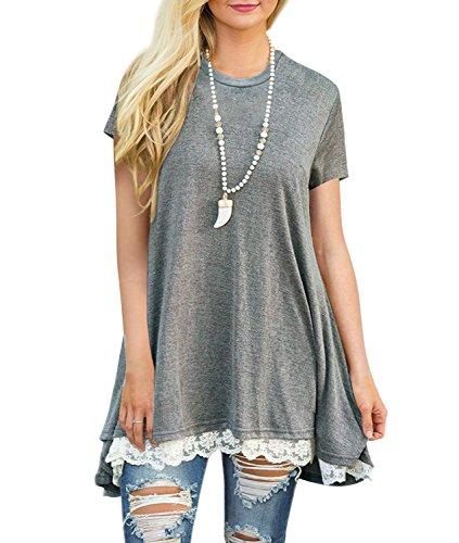 Angerella Women Short Sleeve Top Round Neck Tunic Casual Tshirt Grey-1,L