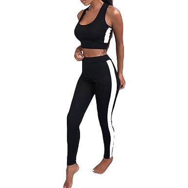 Chandal Conjunto para Mujer Moda Casual Conjuntos Deportivos Sin Manga Crop Top + Largo Pantalones 2pcs Chándal para Trotar Corriendo Aptitud Plus Size: ...
