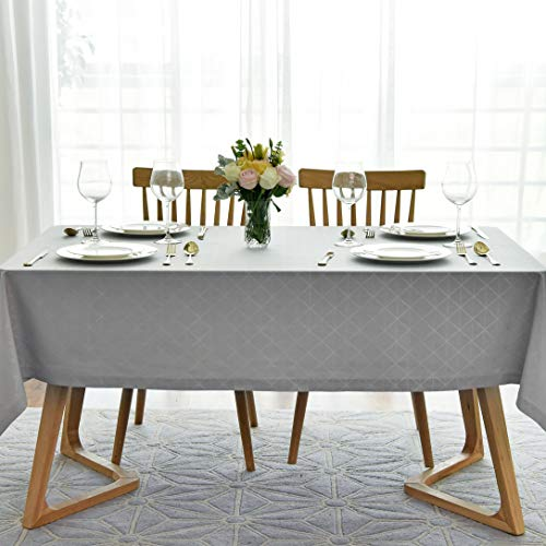 maxmill Jacquard Poly-Cotton Tablecloth Geometric Pattern SpillProof, Water Resistant Wide Hem Heavy Weight Soft Table Cloth for Kitchen Dining Tabletop Decoration Rectangle, Light Grey, 58×84 Inch