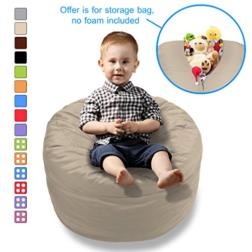 BeanBob Stuffed Animal Storage Bean Bag Chair in Sand Dune Beige - 2ft Large Fill & Chill Space Saving Toy Organizer for Children - for Blankets, Teddy Bears, Clothes & (2 Storage Chairs)