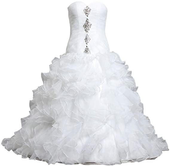 Ants Womens Formal Bead Ruffles Organza Ball Gown Wedding Dress For