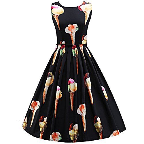 Women Dresses Godathe Summer Large Size Women Sleeveless Round Neck LCE Cream Retro Print Dress S-3XL ()