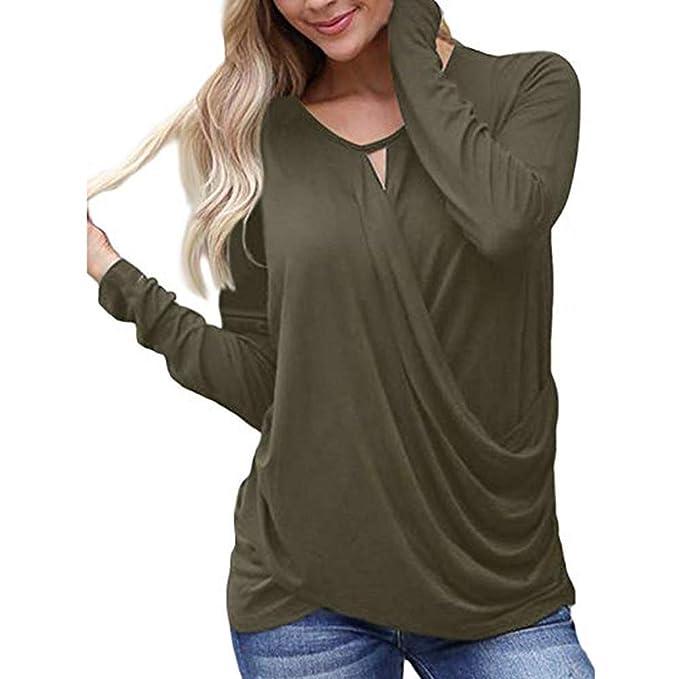 Damen Asymmetrisch Chiffon Tops Langarm Bluses Freizeit Rüsche Tunika Shirts DE