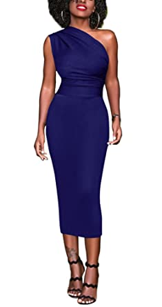 7131ff9e941 Women Bodycon Party Dress One Shoulder Elegant Cocktail Evening Pencil Formal  Dress Blue S